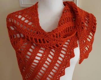 Tomato Red Lacy Crochet Wrap, Lacy Lightweight Triangular Crochet Shawlette, Valentine Shawlette