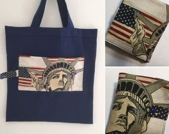 shopping bag Liberty sur fond bleu