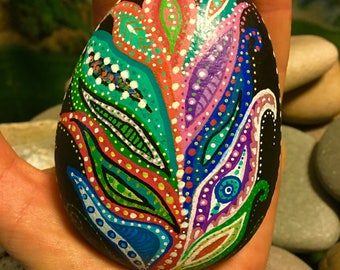 Hand painted leaf/feather rock