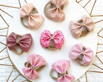Pink glitter bow headband, glitter, pink bow, valentines bow, headband, newborn, baby shower