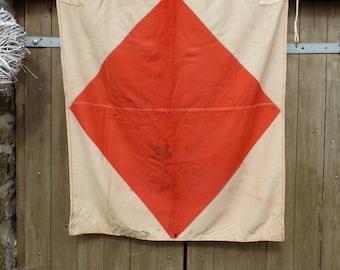 Fantastic F Old Signal Flag. Vintage 1985 Soviet Made  Maritime Flag