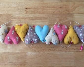 Handmade Fabric Peter Rabbit Heart Hanger, 1.6 Metres, Baby Shower/ Christening Gift