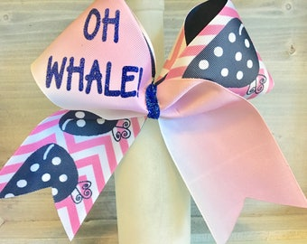 Pink Ombre Chevron Oh Whale Cheer Bow