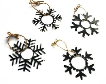 Steel Shimmery Snowflake Ornaments- 4 Pack