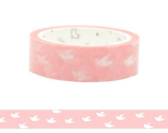 Japanese Pink Flying Bird Washi Tape / Cute Pink Bird Pattern Masking Tape