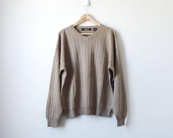 90s Textured Faux Silk Sweater - Beige 90s Hip Hop Clothing - Hip Hop Sweater - Cosby Sweater - Big Sweater - Grandpa Sweater - Men's L