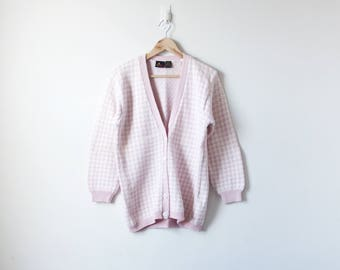 90s Pink Houndstooth Cardigan - 90s Cardigan Vintage Cardigan 90s Sweater Vintage Sweater 90s Clothing - Pastel Pink Sweater - Women's S