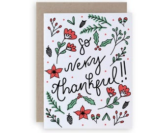 So Very Thankful - Letterpress Holiday Greeting Card