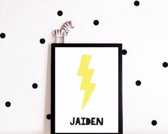 Nursery Decor, Personalized Lightening Wall Art, Nursery Print, Nordic, Baby Boy, Playroom, Printable