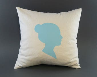 Custom Silhouette Pillow Cover, Drop Cloth and Kona Cotton