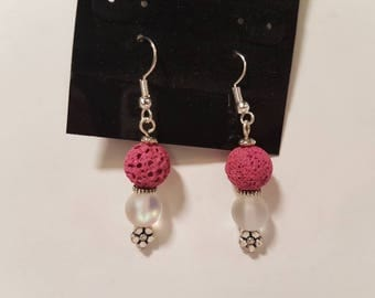 Pink lava with aurora bead earrings and flower charm