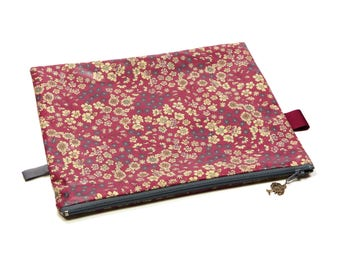 Coated Cotton - Frou-Frou Liberty - cosmetic Bag - Red, blue, flowers, blooming