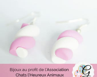 White and pink Marshmallow earrings