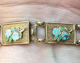 Antique Art Deco Brass Copper Blue Green Enamel Flowers Forget-Me-Nots Bouquets Link Bracelet