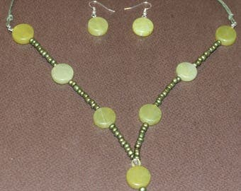 Olive Green Necklace and Earrings Set