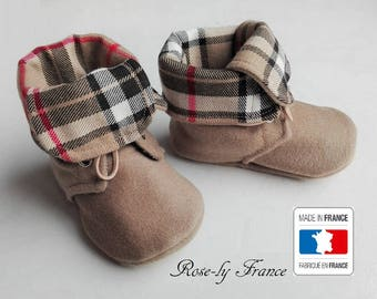 Beige tartan cashmere baby boots booties (baby shoes)