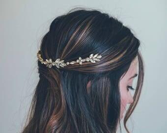 Bridal hair vine, Bridal Headpiece, Gold hair vine, Crystal leaf hair vine, Gold Headband, Vintage hair vine, Gold crystal hair vine