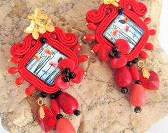 soutache earrings red Poppies jewels, Soutache Jewerly, fashion,Soutache Jewels, accessories, cabochon, crystals, beads, handmade from Italy