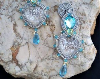 soutache earrings Valentine's heart, soutache, soutache jewelry, handmade earrings, soutache jewels, soutache embroidery