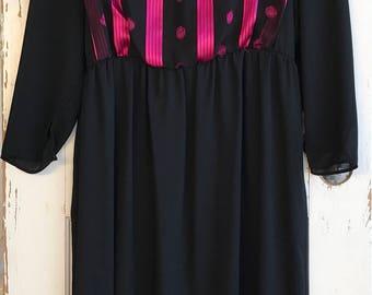 Vintage Vicky Vaughn Junior Black Sheer Dress