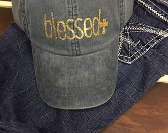 Blessed Hat With Cross, with Glitter, Mom Hat, Hat Distressed Hats, Monogram Hats