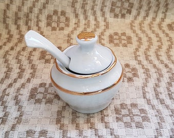 Vintage round white with golden stripe dishe for spice / condiment mustard-pot / sauce bowl /jar / container from porcelain / china /ceramic