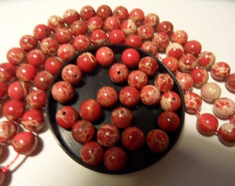 Royal stone beads - reality 6 to 8mms, Red