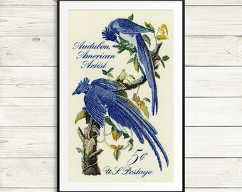 audubon birds of america, united states postage stamps, audubon columbia jay prints, blue jay wall art, USA postage stamp art, USA stamp art