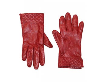 1950's Style Red Leather Gloves