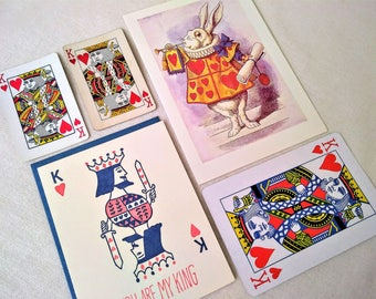 Valentine Cards KING of HEARTS New Unused Letterpress Alice in Wonderland White Rabbit Vintage Playing Cards Ephemera Red Hearts Poker Love