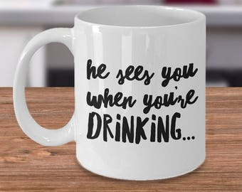 He Sees You When Your Drinking Adult Christmas Mugs Christmas Coffee Mugs Funny Christmas Gag Gifts Ceramic Holiday Mugs Gift Exchange Ideas