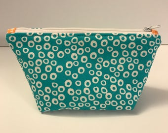 Small Zippered Pouch - Make-up Bag - Teal and Orange Zippered Pouch - Pouch with zipper - Small Cosmetic Bag - Travel Bag - Toiletry Bag