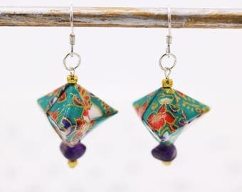 Japanese origami earrings turquoise silver and Amethyst