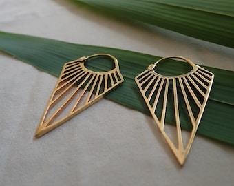 Art Deco earrings, earrings, geometric, gold, brass, silver plated, boho, bohemian, elegant, jewellery, christmas gift,