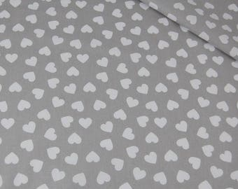Cotton Fabric, Quilting Print Fabric,Hearts Fabric, White  Heart , Fabric by the Yard-Half Yard