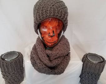 Beautiful winter grey Hat, Scarf and Reversible Boot Cuffs Set