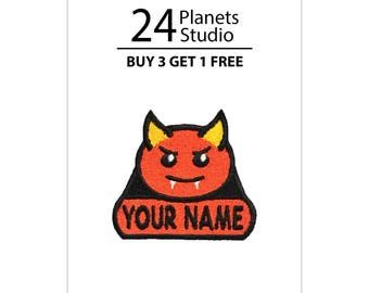"Mini Devil ""Your Name"" Iron on Patch by 24PlanetsStudio"