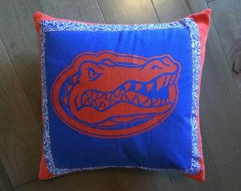 University of Florida Gators Upcycled T-Shirt Pillow (16x16)