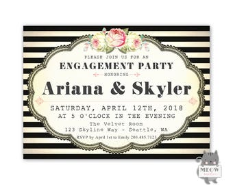 Engagement Party Invitations, Black and White Engagement Party Invitation, Printable Digital Download or Printed Engagement Invitations