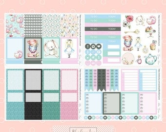 Alice in Wonderland Style Planner Sticker Kit - Boxes will fit Erin Condren Vertical Planner