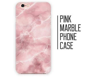 Pink Marble Phone Case for iPhone X 8 Plus 7 6 6s 5 5s 5c SE + Samsung S6 S7 S8+ Pink and White