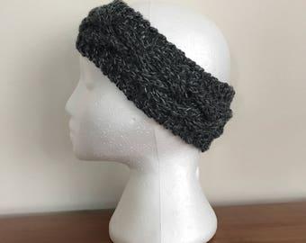Gray Cable Knit Headband - Knit Adult Earwarmer - Girls Headband - Cabled Headband - Wool Earwarmer - Winter Headband