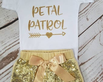 Petal Patrol Outfit,Sequin Shorts, Flower Girl Outfit, Wedding Outfit