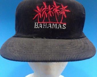 Vintage Bahamas Trucker SnapBack hat Corduroy 1980s