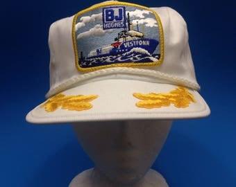 Vintage BJ Hughes Trucker SnapBack Hat Adjustable 1980s Beautiful