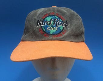 Vintage Hard Rock Cafe Acid Wash Strapback Hat 1990s Adjustable