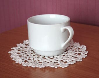 Small doily Lace doily hand crochet doily 16 cm in White crochet doilies handmade round doily white cotton doily decor hand made doily