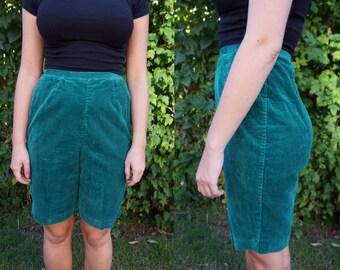 True Vintage 1950s / 1960s Koret of California Corduroy Emerald Green Shorts Small
