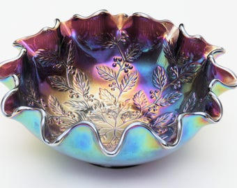 Vintage Antique Fenton Iridescent Glass Carnival Bowl with Ruffled Edge - Amethyst Glass with Berry & Holly Pattern Pressed Interior