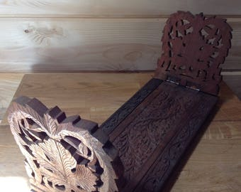 Teak Vintage, hand carved bookends. Made in India.
